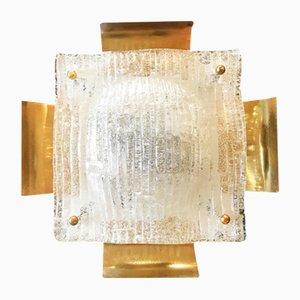Applique in vetro soffiato a mano con struttura dorata di Mazzega, anni '60