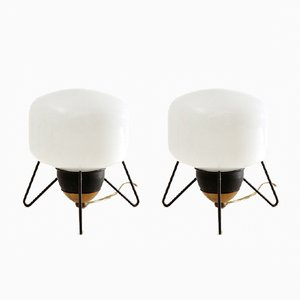 Mid-Century Brass and Glass Bedside Lamps, 1950s, Set of 2