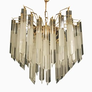 Triedi Chandelier with Gilt Frame by Venini, 1980s