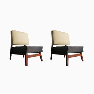 Black & Ivory Easy Chairs, 1930s, Set of 2