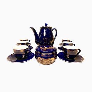 Dunkelblau & goldenes koreanisches Vintage Kaffeeservice aus Porzellan