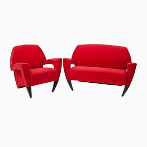 Italienisches Sofa & Sessel, 1980er