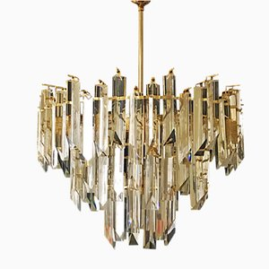 Lámpara de araña de cristal de tres niveles de Paolo Venini, años 80