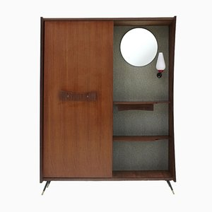 Mid-Century Modern Cabinet with Mirror and Light, 1950s