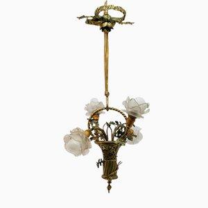 Lámpara antigua floral con tulipa de bronce