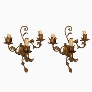 Vintage Gilded Metal Sconces, Set of 2