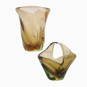 Amber & Green Mid-Century Vases by Beranek for Skrdlovice, Set of 2