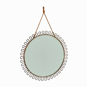 Round Mid-Century Mirror with Brass Frame by Josef Frank for Svenskt Tenn