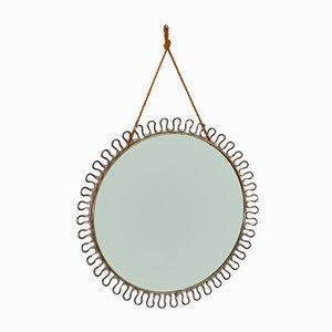 Specchio rotondo Mid-Century con cornice in ottone di Josef Frank per Svenskt Tenn