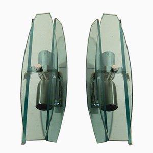 Lámparas italianas de cristal de Murano de Veca, años 70. Juego de 2