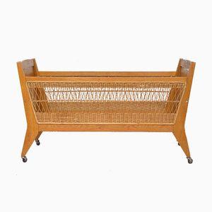 Vintage Cradle in Wood & Rattan, 1960s