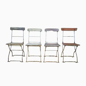 French Folding Garden Chairs, Set of 4