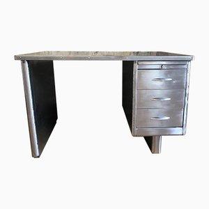 Mid-Centruy Schreibtisch aus geschliffenem Metall