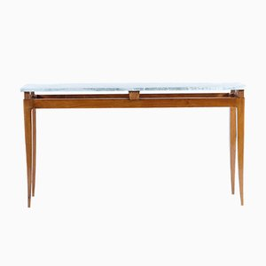 Table Console Mid-Century en Florentin & Marbre par Nello Baroni, 1940s
