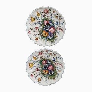 Piatti in ceramica dipinta a mano di Antonio Zen Nove, anni '80, set di 2
