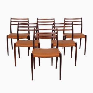 Chaises de Salle à Manger Modèle JL78 en Palissandre et Cuir par Niels Otto (N. O.) Møller pour J.L. Møllers, 1950s, Set de 6