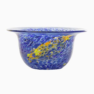 Blue & Yellow Vintage Blown Glass Bowl from Kosta Boda