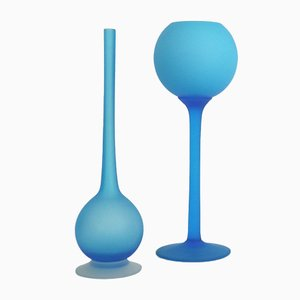 Blue Satinato Vases from Carlo Morretti, 1950s, Set of 2