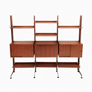 Teak and Metal Model Selex Wall Unit from Industria Mobili Barovero, 1960s