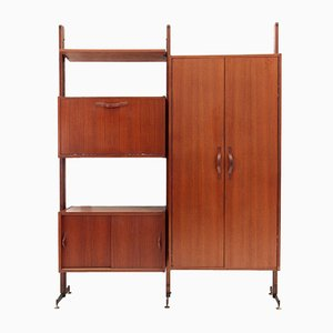 Mid-Century Italian Wall Unit with Cabinet, 1960s