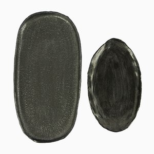 Stoneware Trays with Black Glaze by Christine Roland, Set of 2