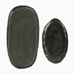 Tabletts aus Steingut mit schwarzer Glasur von Christine Roland, 2er Set