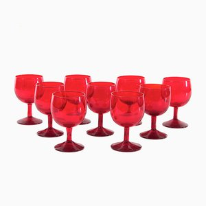 Red Vintage Glasses from Kosta Boda, Set of 9