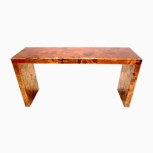 Brutalist Red Copper & Resin Console Table, 1980s