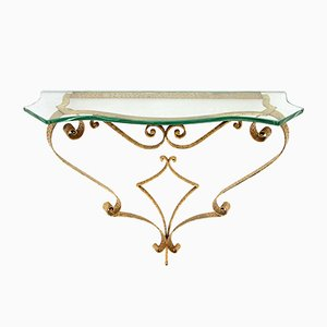 Italian Console Table with Glass Top, 1950s