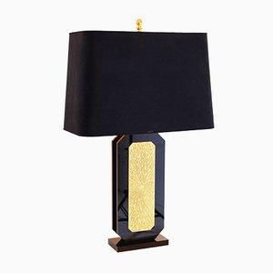 Tischlampe aus schwarzem Plexiglas & graviertem vergoldetem Messing von Lova Création, 1980er