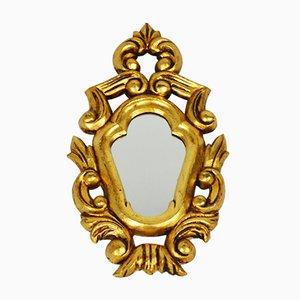 Espejo Mid-Century con marco dorado, años 50