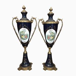 Vases Vintage en Porcelaine, Bronze et Similor, France, Set de 2