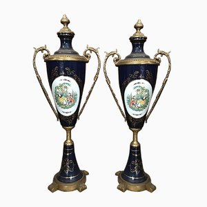 Vintage French Porcelain, Bronze & Ormolu Vases, Set of 2