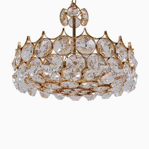 Gold-Plated & Faceted Crystal Chandelier from Palwa, 1970s