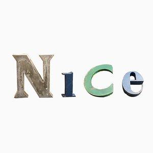 Juego de letras NICE francés industrial vintage de metal lacado