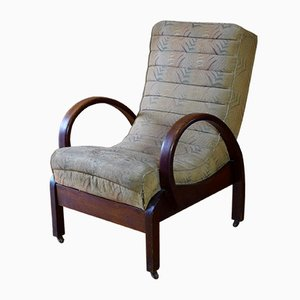 Gepolsterter Vintage Art Deco Armlehnstuhl aus Bugholz