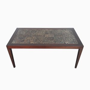 Rosewood & Ceramics Coffee Table by Severin Hansen for Haslev Møbelsnedkeri, 1960s