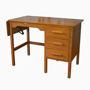 Mid-Century Oak Pedestal Teachers Desk from J.B