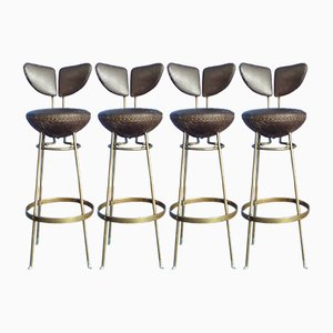 Mid-Century Leather & Metal Bar Stools, Set of 4