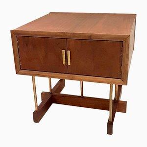 Mesa de centro de latón y nogal de Russel Woodard, años 50