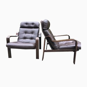 Leather & Rosewood Lounge Chairs, 1960s, Set of 2