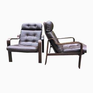 Sessel aus Leder & Palisander, 1960er, 2er Set