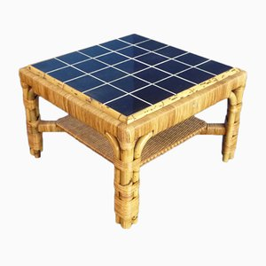 Rattan, Bamboo & Ceramics Coffee Table from Arco, 1940s