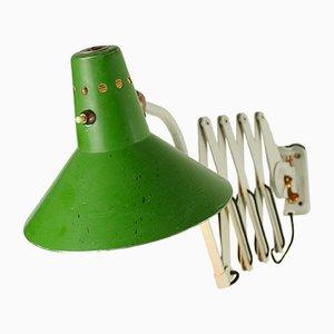 Lampada a forbice vintage con paralume verde di Helo Leuchten, anni '40
