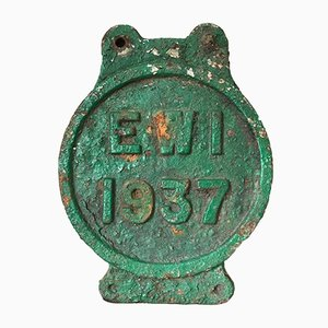 Vintage Cast Iron Green Railway Train Sign, 1937