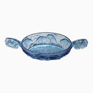Cuenco de vidrio azul de Verlys, años 40