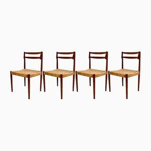 Dänische Vintage Modell 57 Esszimmerstühle aus Teak & Schilfrohr von Kurt Østervig für Randers Møbelfabrik, 4er Set