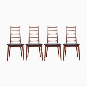 Scandinavian Lis Chairs in Teak by Niels Koefoed, 1950s, Set of 4