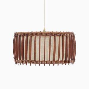 Skandinavische Vintage Deckenlampe aus Teak & Stoff