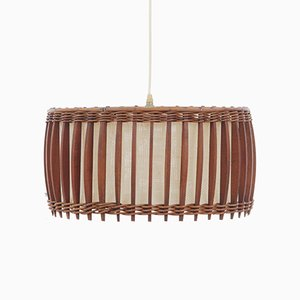 Vintage Scandinavian Teak & Fabric Ceiling Lamp